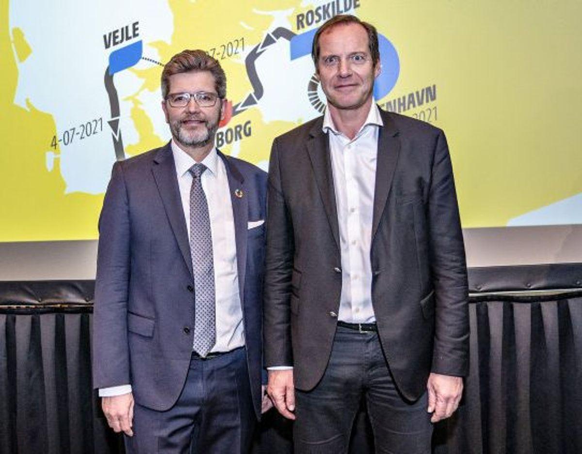 Løbsdirektør for Tour de France, Christian Prudhomme, og Københavns overborgmester, Frank Jensen (S), ved præsentationen af den danske Tour-start. (Arkivfoto). Foto: Henning Bagger/Scanpix