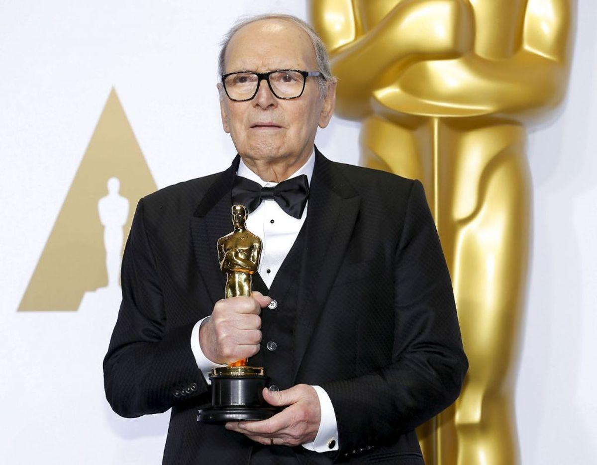 Morricone vandt blandt andet end Oscar for soundtracket til The Hateful Eight. Foto: Scanpix