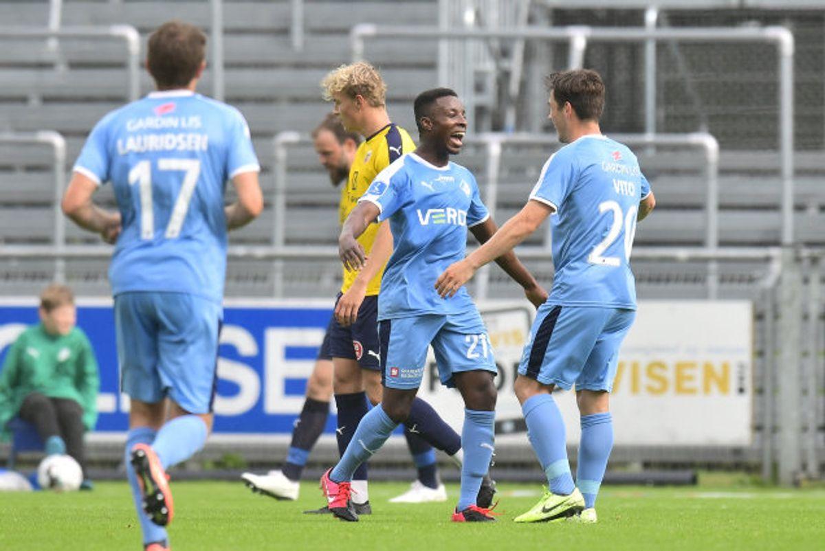 Tre gange kunne Randers-spillerne juble over en scoring mod Hobro. Foto: Bo Amstrup/Scanpix