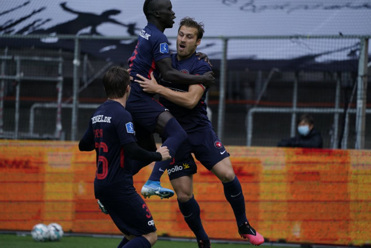 Lidt heldigt bragte Erik Sviatchenko FC Midtjylland på 1-0. Foto: Claus Bech/Scanpix
