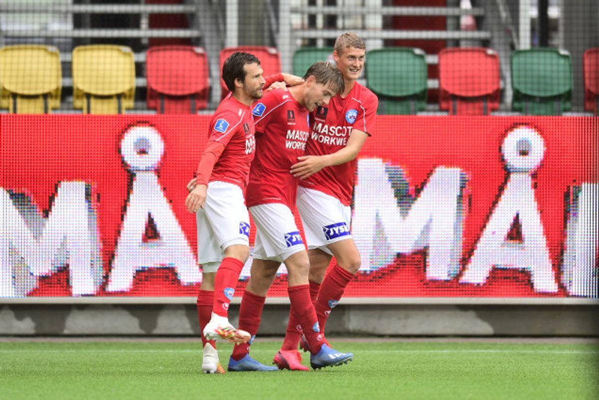 Det var kun Silkeborg-spillerne, der havde noget at glæde sig over i kampen mod Lyngby. Foto: Bo Amstrup/Scanpix