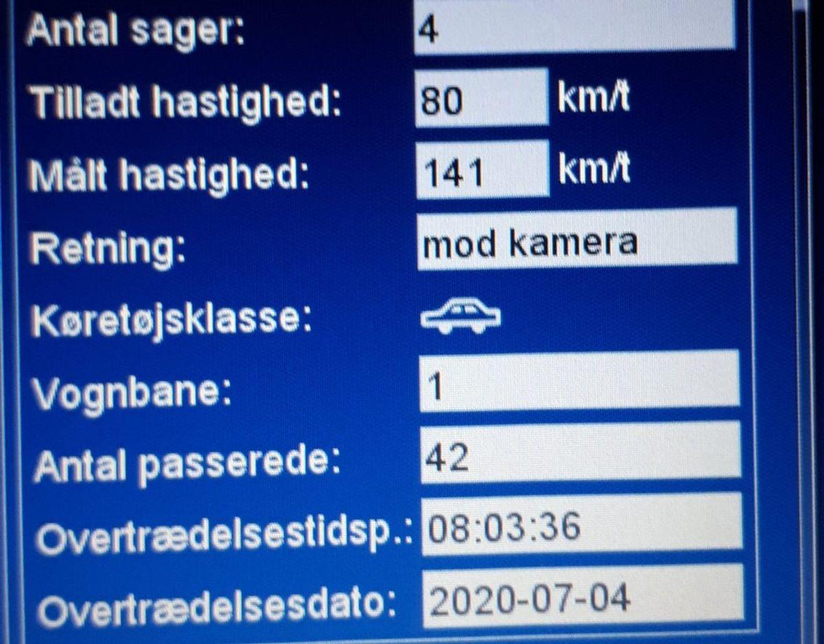 Det var denne måling på 141 km/t bilisten nu kommer til at stå til regnskab for. Foto: Syd- og Sønderjyllands Politi.
