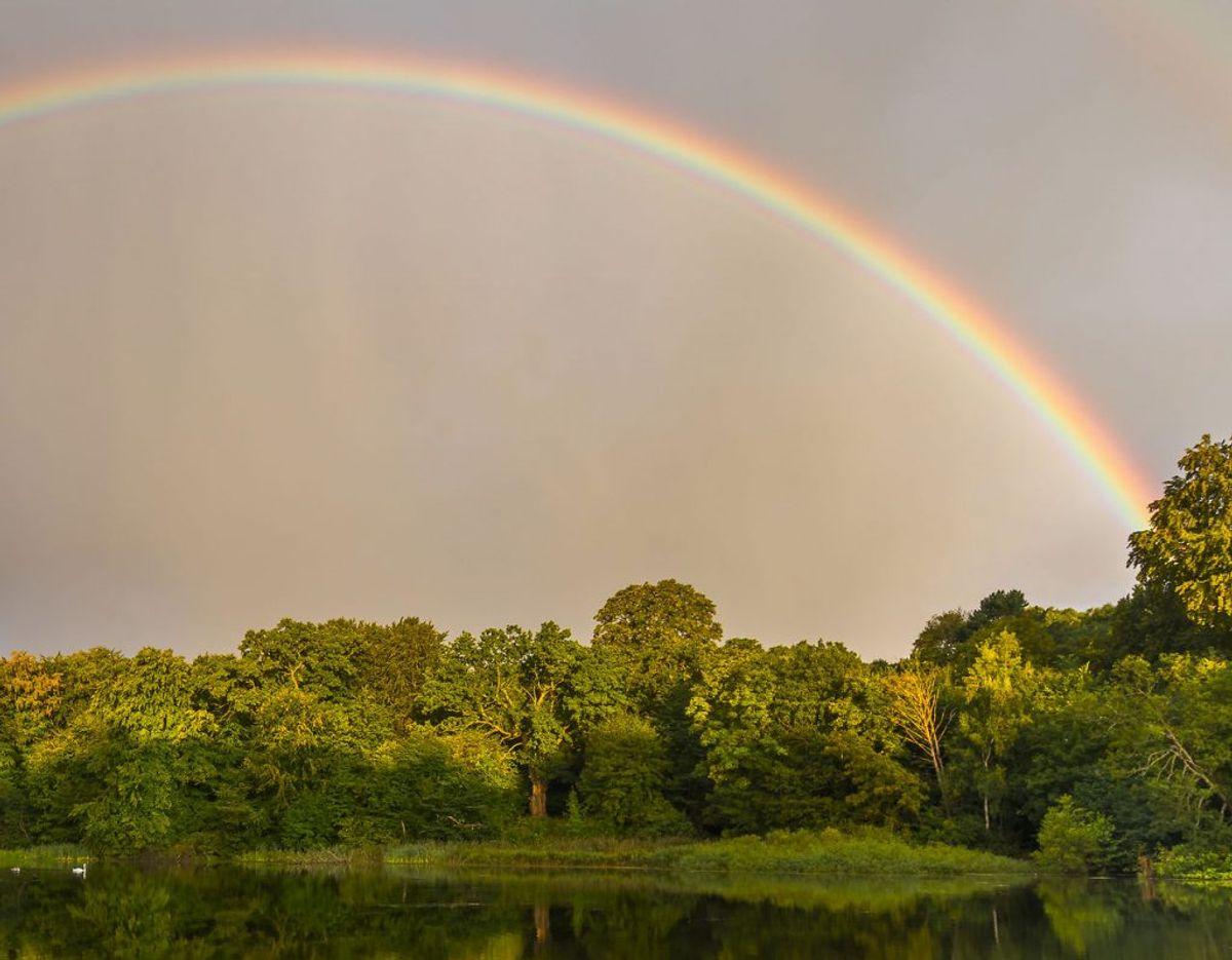 Smuk ser den ud, sådan en regnbue. Men det er ikke en, man har lyst til at se på hele sommeren – for så betyder det en våd sommer….. Arkivfoto: Scanpix.