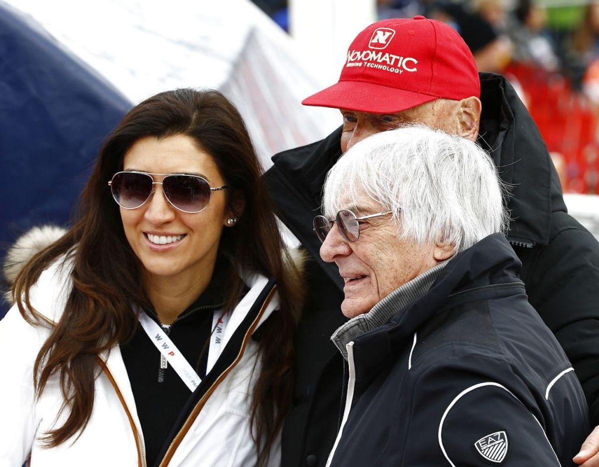 Nu 89-årige Bernie Ecclestone er blevet far for fjerde gang. Mor til barnet er 44-årige Fabiana Flosi (tv.). Foto: Scanpix