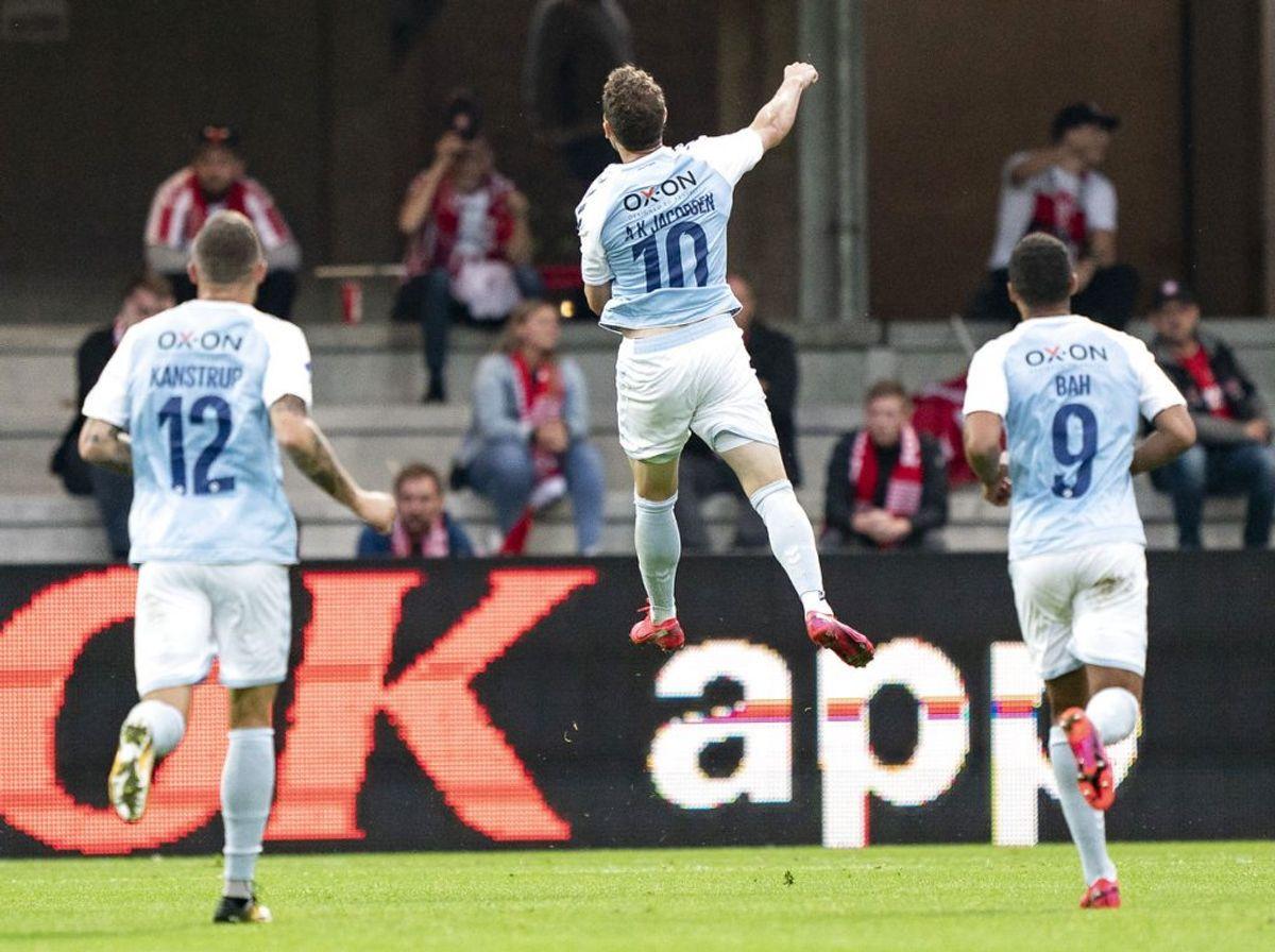 Anders K. Jacobsen scorede begge mål i Sønderjyskes pokaltriumf. – Foto: Claus Fisker/Ritzau Scanpix