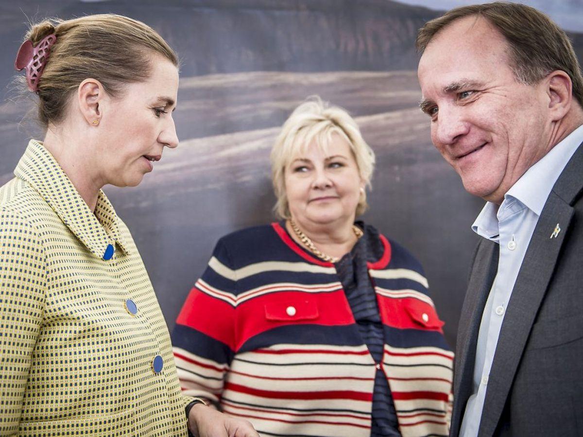 Statsminister Mette Frederiksen, Norges statsminister Erna Solberg og Sveriges statsminister Stefan Löfven (Foto: Mads Claus Rasmussen/Ritzau Scanpix)