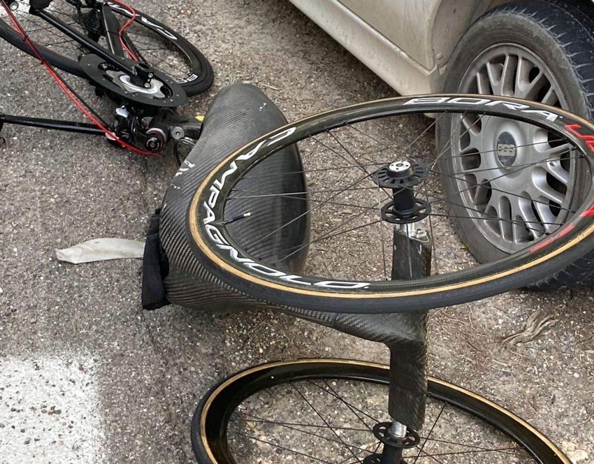 Alex Zanardis håndcykel efter ulykken. Foto: EPA/ANSA/Scanpix