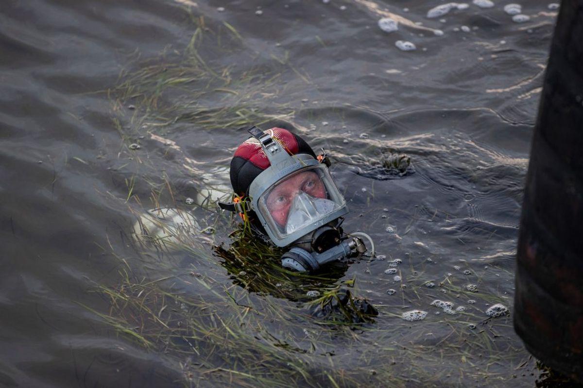 Det lykkedes imidletid ikke ifølge Newsbreak.dks oplysninger for dykkerne at finde gerningsvåbnet. Foto: Rasmus Skaftved.