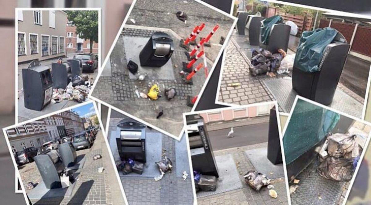 """Ophobning af affald skyldes ifølge beboerne dels at de underjordiske affaldscontainere bliver overfyldt og dels at skakterne bliver blokeret. – Foto: Facebook-gruppen """"Øgadernes beboere""""/TV2 Østjylland."""