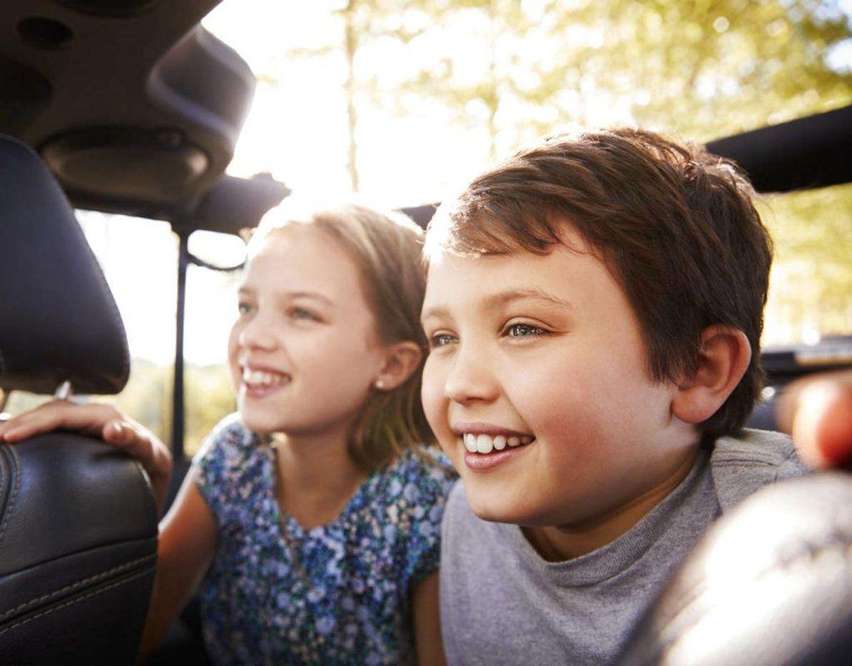 Hvis børnene på bagsædet er urolige, skal du holde ind til siden og få ro på bilen. Kilde: Rigspolitiet Foto: Scanpix