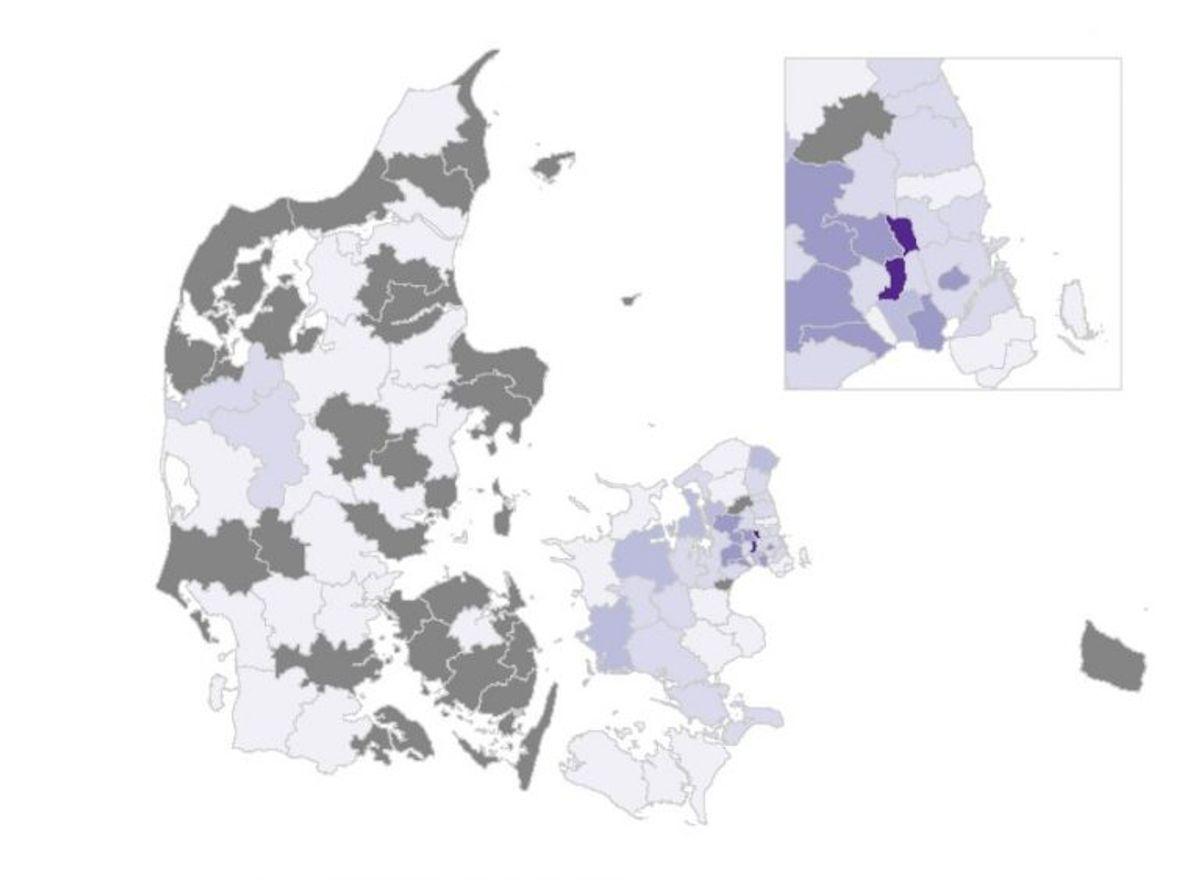 Således er situationen i Danmark. De grå kommuner har ingen nye tilfælde. Foto: SSI