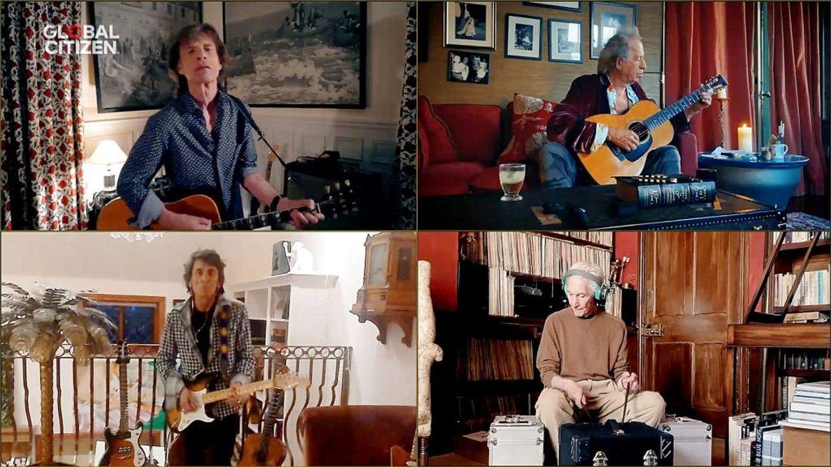 """Mick Jagger, Keith Richards, Ronnie Wood og Charlie Watts fra """"The Rolling Stones"""" under lørdagens koncert. Foto: Global Citizen/Handout/Scanpix."""