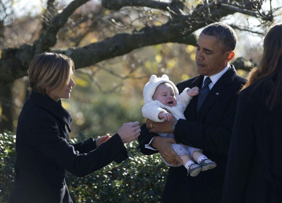 Her ses hun med Barack Obama. Foto: Jason Reed/scanpix.