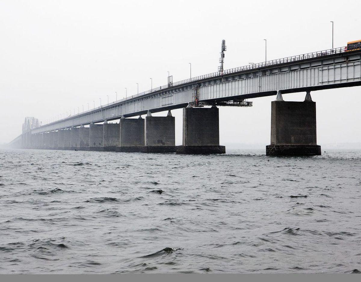 Den nye Storstrømsbro skal forbinde Sjælland og Falster via Masnedø. På billedet ses den gamle Storstrømsbro. Arkivfoto: Søren Bidstrup/Scanpix 2018.