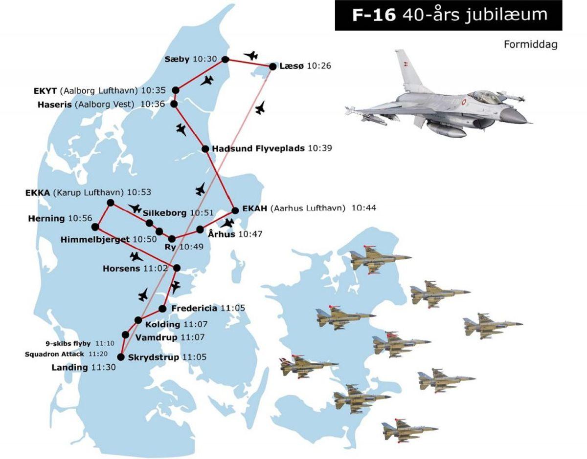 Her kan man opleve flyene i formiddags-timerne. Foto: Forsvaret.