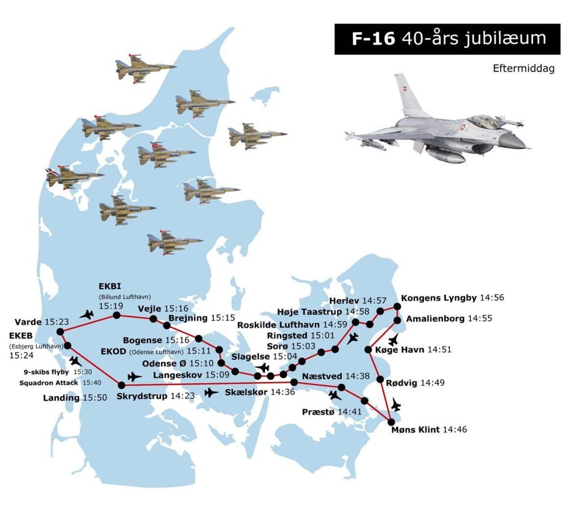 Her kan man opleve de 10 F16 fly i eftermiddagstimerne. Foto: Forsvaret.