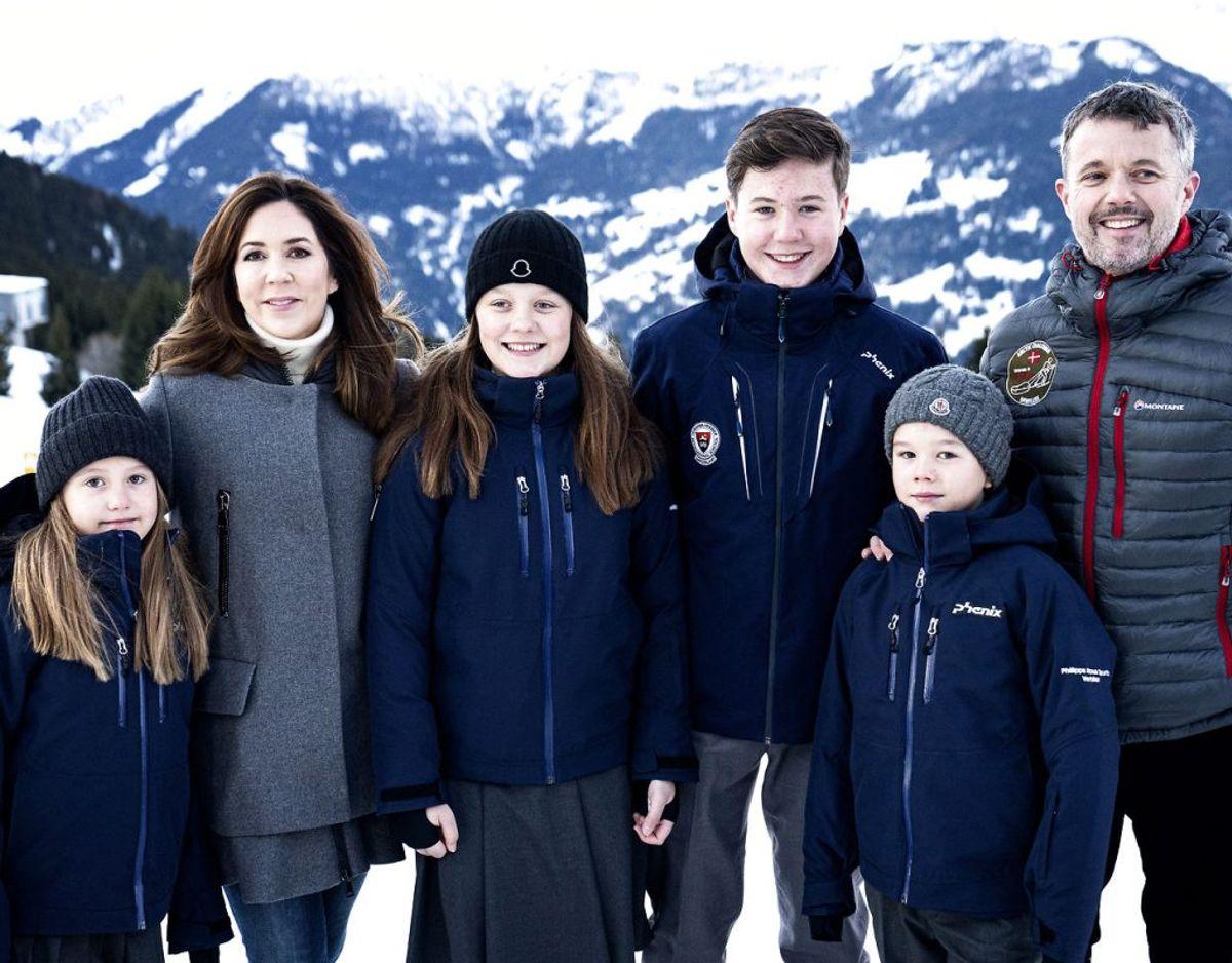 I 12 uger skal prins Christian, prinsesse Isabella, prins Vincent og prinsesse Josephine gå på den internationale skole Lemania-Verbier. Foto: Ida Guldbæk Arentsen/Ritzau Scanpix