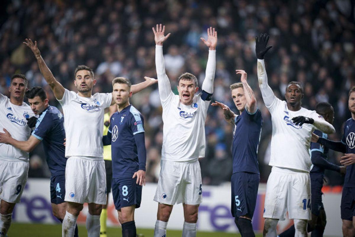 FC København avancerede fra sin Europa League-gruppe til 16.-delsfinalerne, selv om københavnerne hjemme tabte 0-1 til Malmö FF. Foto: Liselotte Sabroe/Scanpix