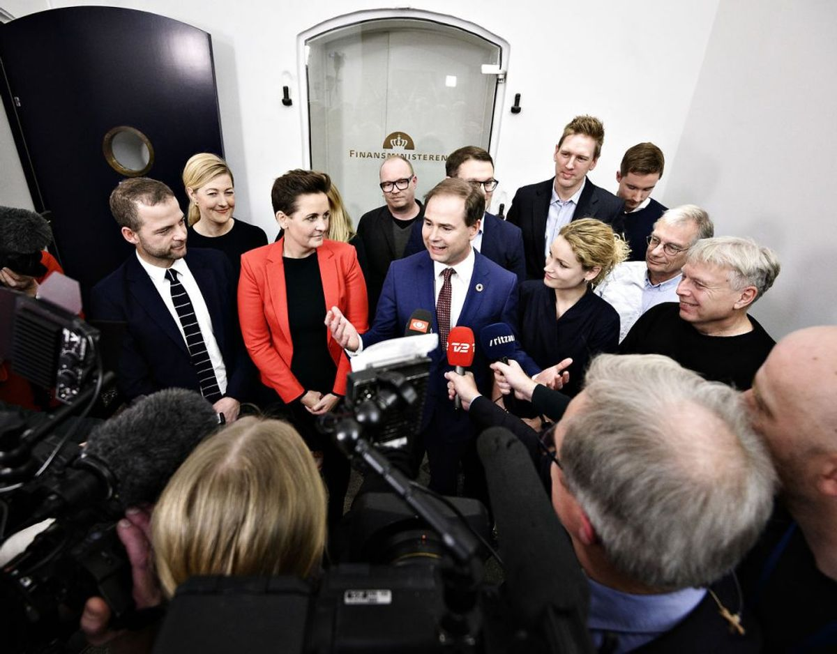 Regeringen og dens støttepartier var glade, da de præsenterede næste års finanslov. Arkivfoto: Philip Davali/Ritzau Scanpix.