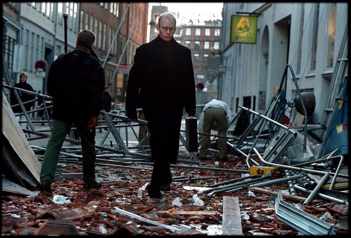 På Vestergade i København væltede et stillads under stormen.