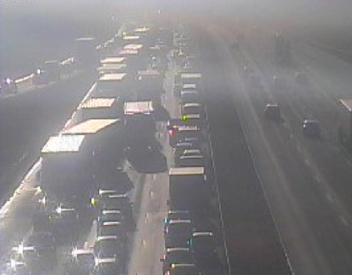 Et uheld spærrer lige nu E45 ved Vejle. Foto: Vejdirektoratet.