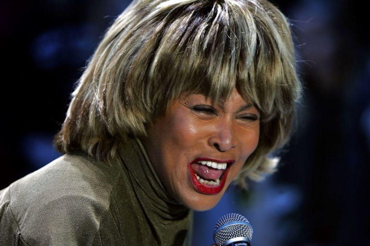 Den amerikanske rock-stjerne, Tina Turner øvede fredag 1. april 2005 i Parken forud for lørdagens store H.C. Andersen show,'Once upon a time'.