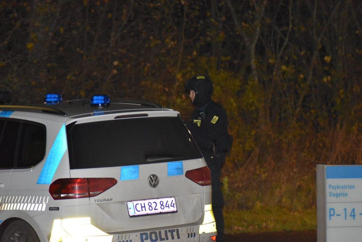 Politiet var på stedet – psykiatrisk afdeling i Slagelse – til omkring klokken to onsdag nat. Foto: Presse-fotos.dk