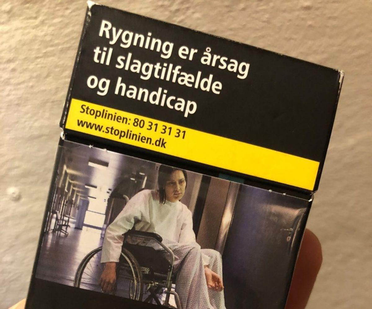 Synes du, cigaretpakken her signalerer noget forkert om handicappede? Det gør Muskelsvindfonden i hvert fald. Foto: Muskelsvindfonden (Facebook)