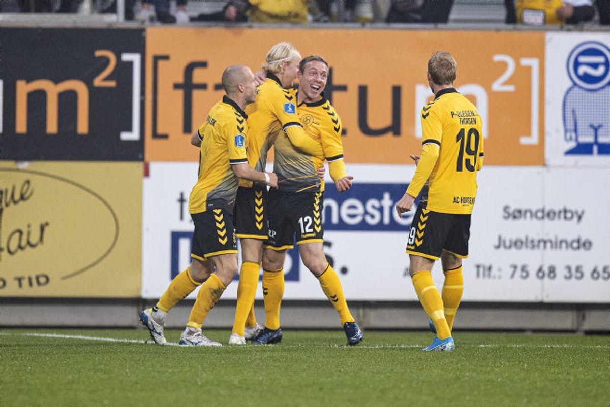 Rune Frantsen bragte AC Horsens foran 1-0 mod Silkeborg i opgøret i 3F Superligaen lørdag. Foto: Claus Fisker/Scanpix