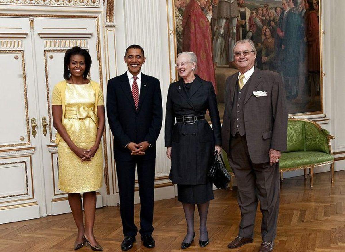 (ARKIV) Dronning Margrethe og prins Henrik (th) mødtes fredag d. 2. oktober 2009 med den daværende amerikanske præsident Barack Obama og hans hustru Michelle Obama. (Foto: Keld Navntoft/Ritzau Scanpix)