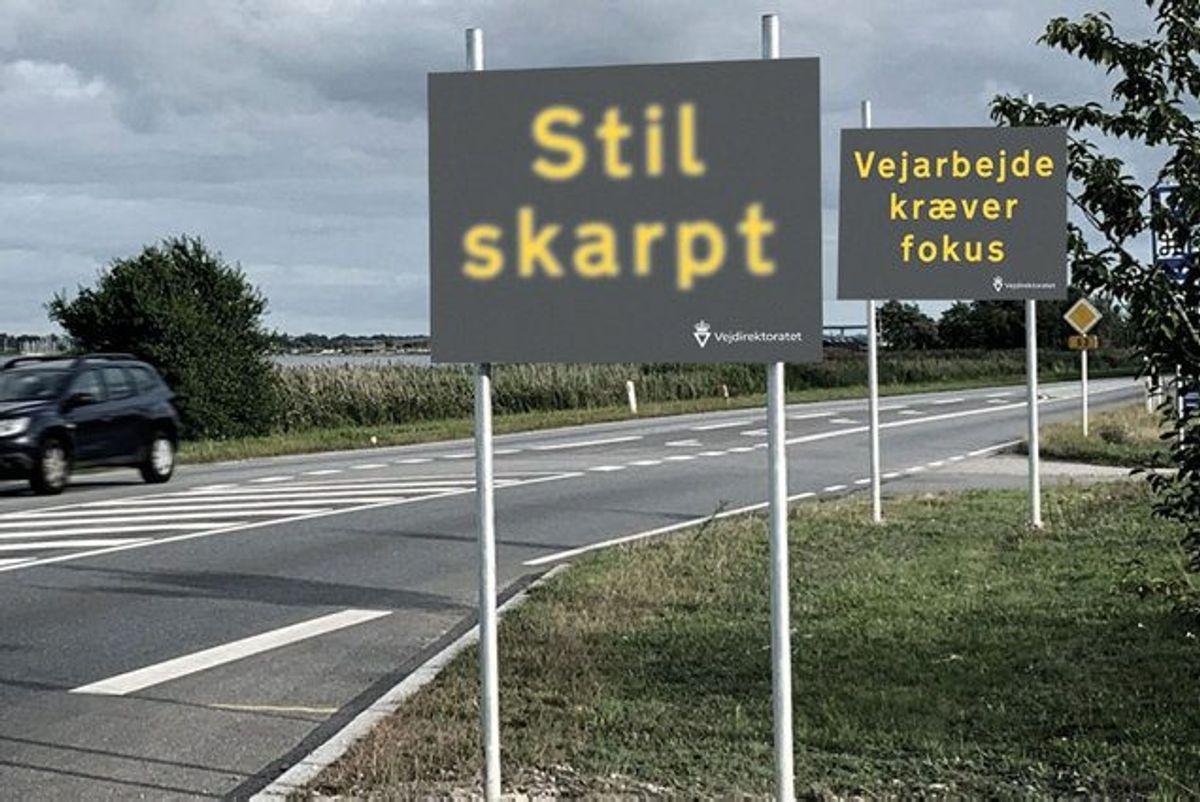 """En tredjedel af uheldene på motorveje skyldes uopmærksomhed fra trafikanterne. Det skal Vejdirektoratets kampgane """"Stil skarpt – Vejarbejde kræver fokus"""" gøre trafikanterne opmærksomme på fra mandag den 30. september 2019. Foto: /Free"""