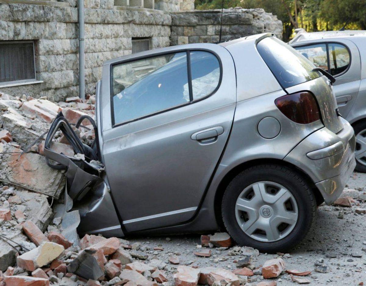 Voldsomt jordskælv i Albanien lørdag. Klik videre og se endnu et billede. Foto: Scanpix.