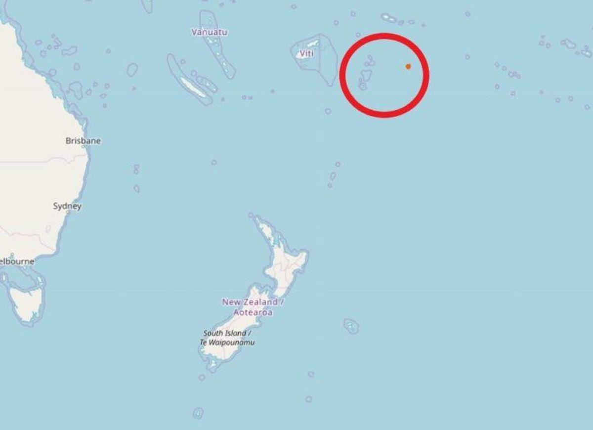 I den røde cirkel ligger både Niue og Tonga. Foto: Openstreetmap-bidragsydere (C)