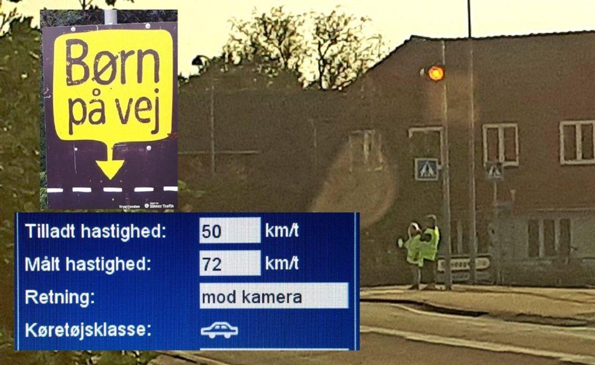 Politiet var på plads til fartkontrol. Foto: Syd- og Sønderjyllands Politi