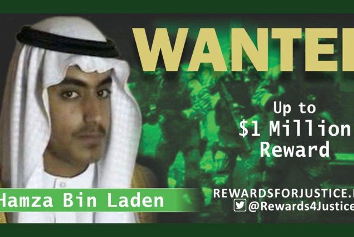 Der er udlovet en dusør på en million dollar for hjælp, der kan føre til Hamza bin Ladens tilfangetagelse. Dusøren blev udlovet tidligere på årdet. Nu er der imidlertid meldinger om, at Hamza bin Laden, der er Osama bin Ladens søn, skal være død. (Arkivfoto). Foto: Handout/Reuters