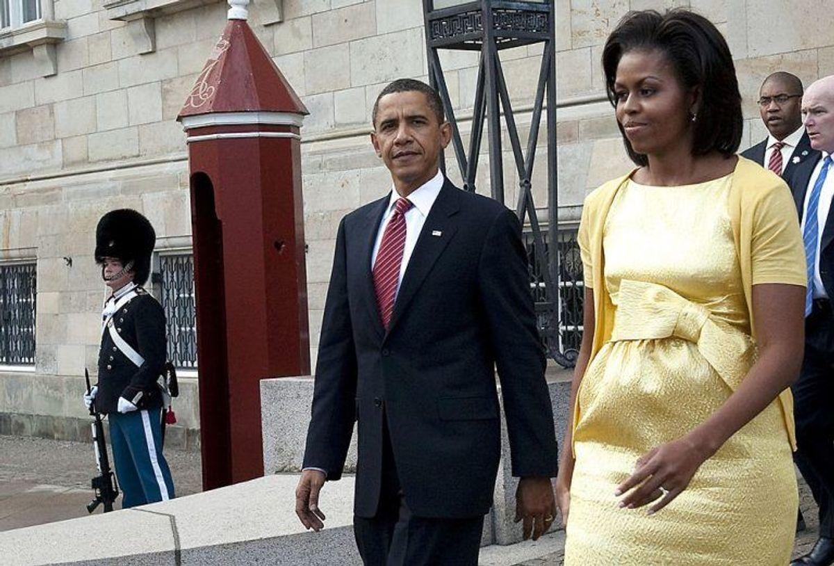 (ARKIV) Barack og Michelle Obama besøger dronning Margrethe og prins Henrik på Amalienborg i København, den 2. oktober 2009. (Foto: Keld Navntoft/Ritzau Scanpix)