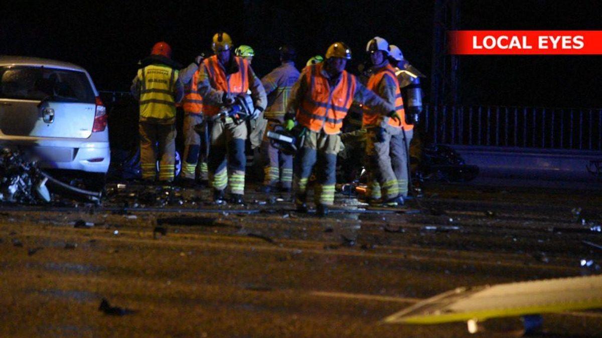 Trafikulykke på Langebro i København natten til tirsdag. Foto: Local Eyes