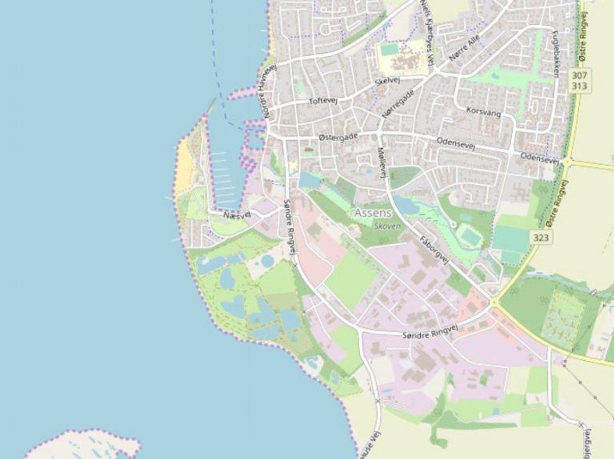 Assens: Assens Næs strand Foto: Openstreetmaps-bidragsydere.