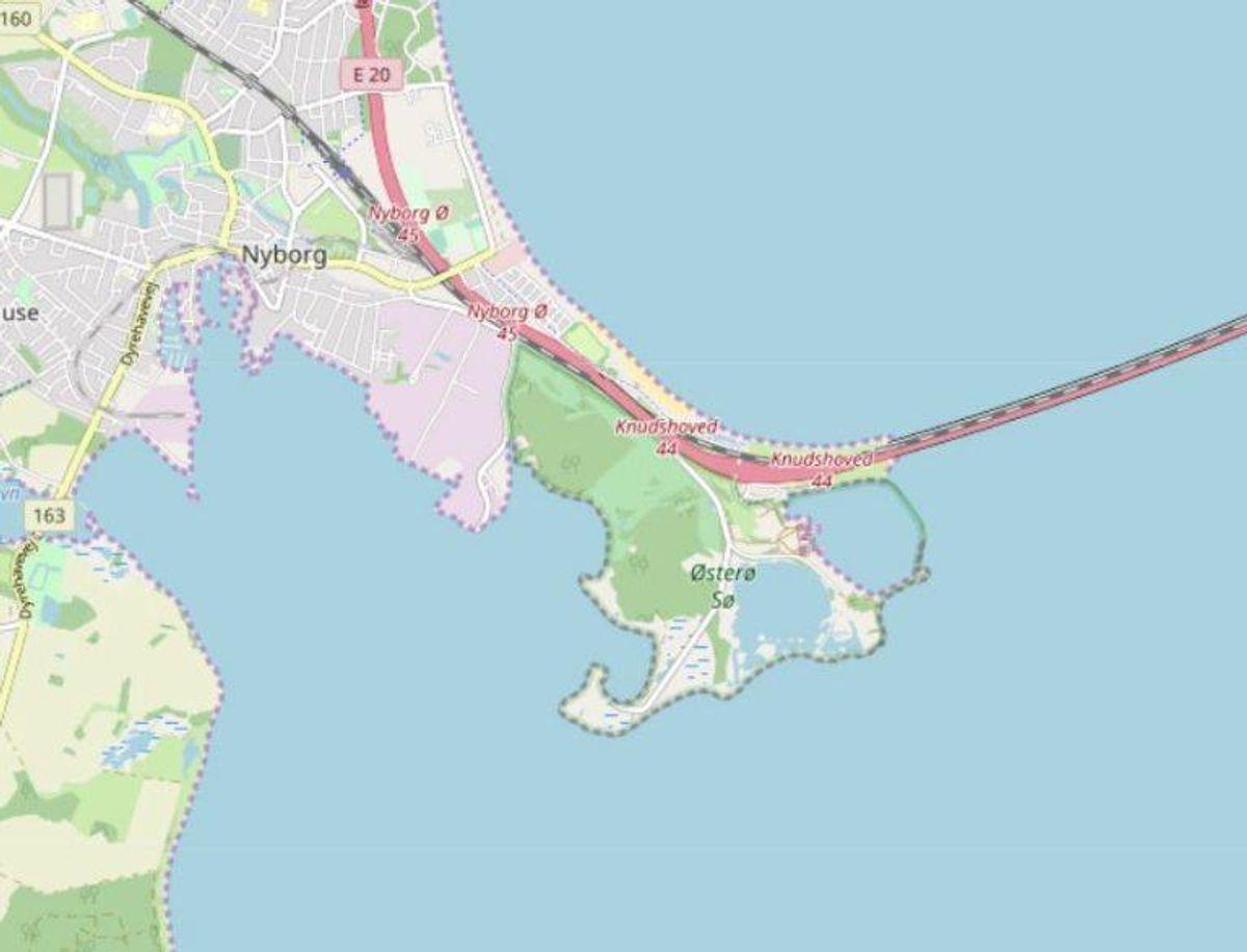 Nyborg:Fyns Badestrand og Storebæltsbadet Foto: Openstreetmaps-bidragsydere.