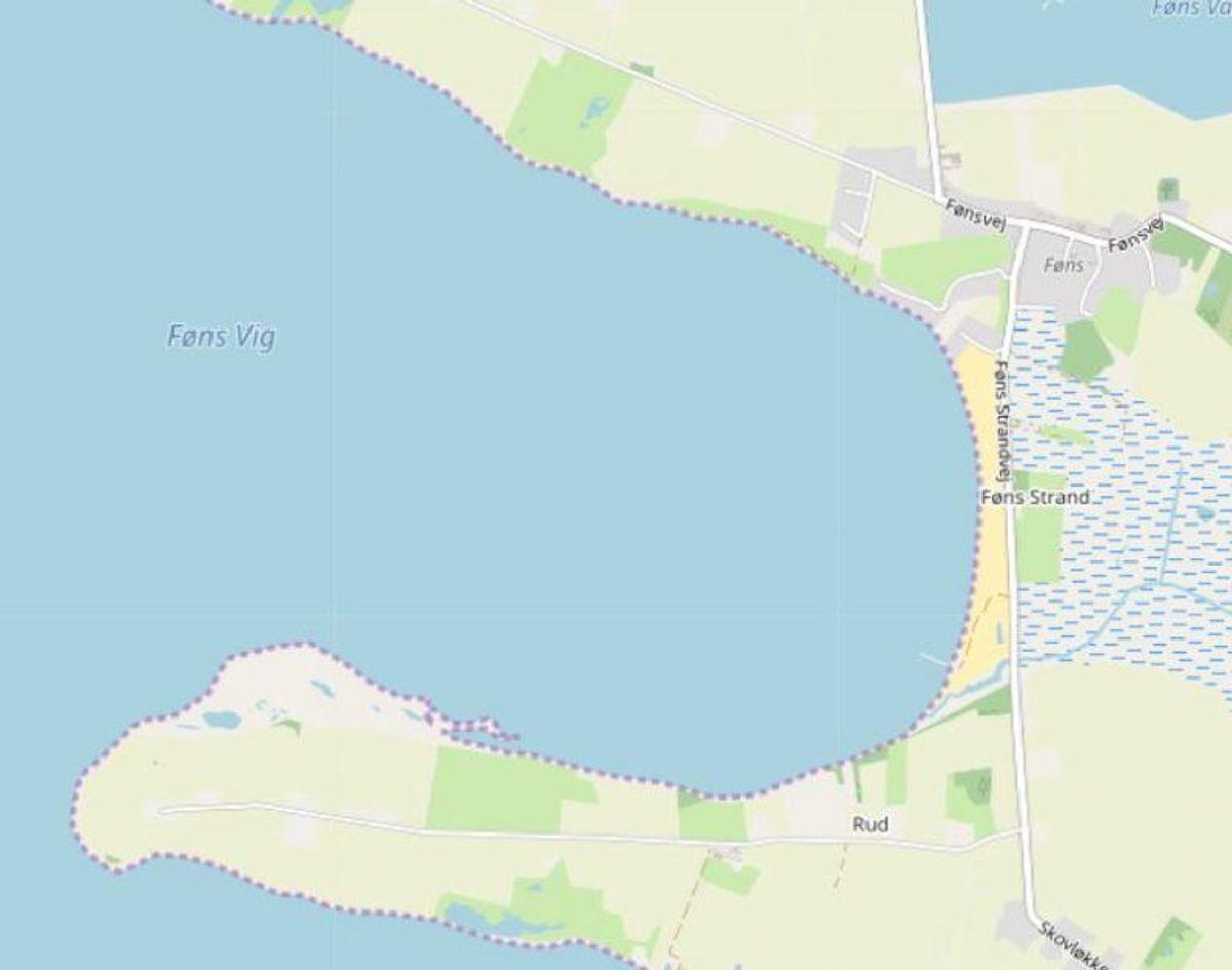 Middelfart: Føns Strand  Foto: Openstreetmaps-bidragsydere.