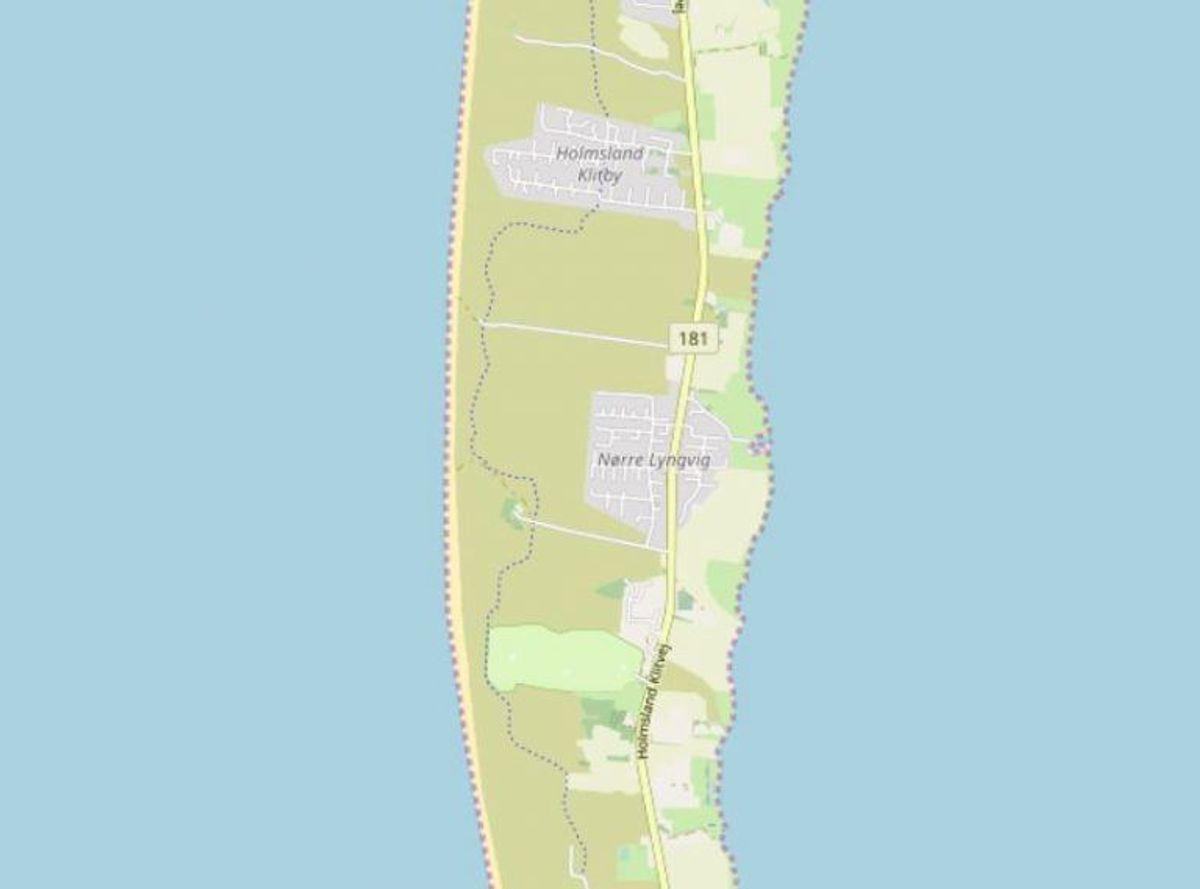 Ringkøbing-Skjern: Nørre Lyngvig Strand  Foto: Openstreetmaps-bidragsydere.