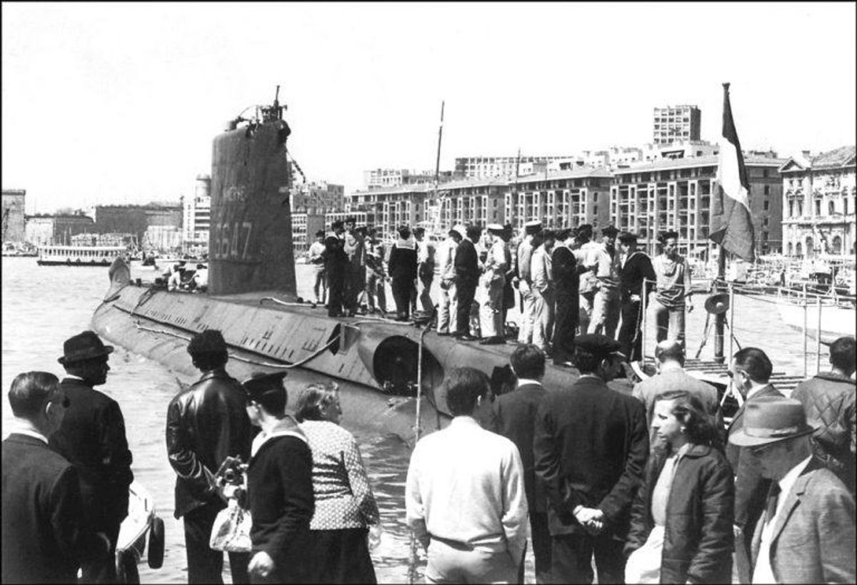 Hers ses ubåden i Marseilles. Foto: Scanpix