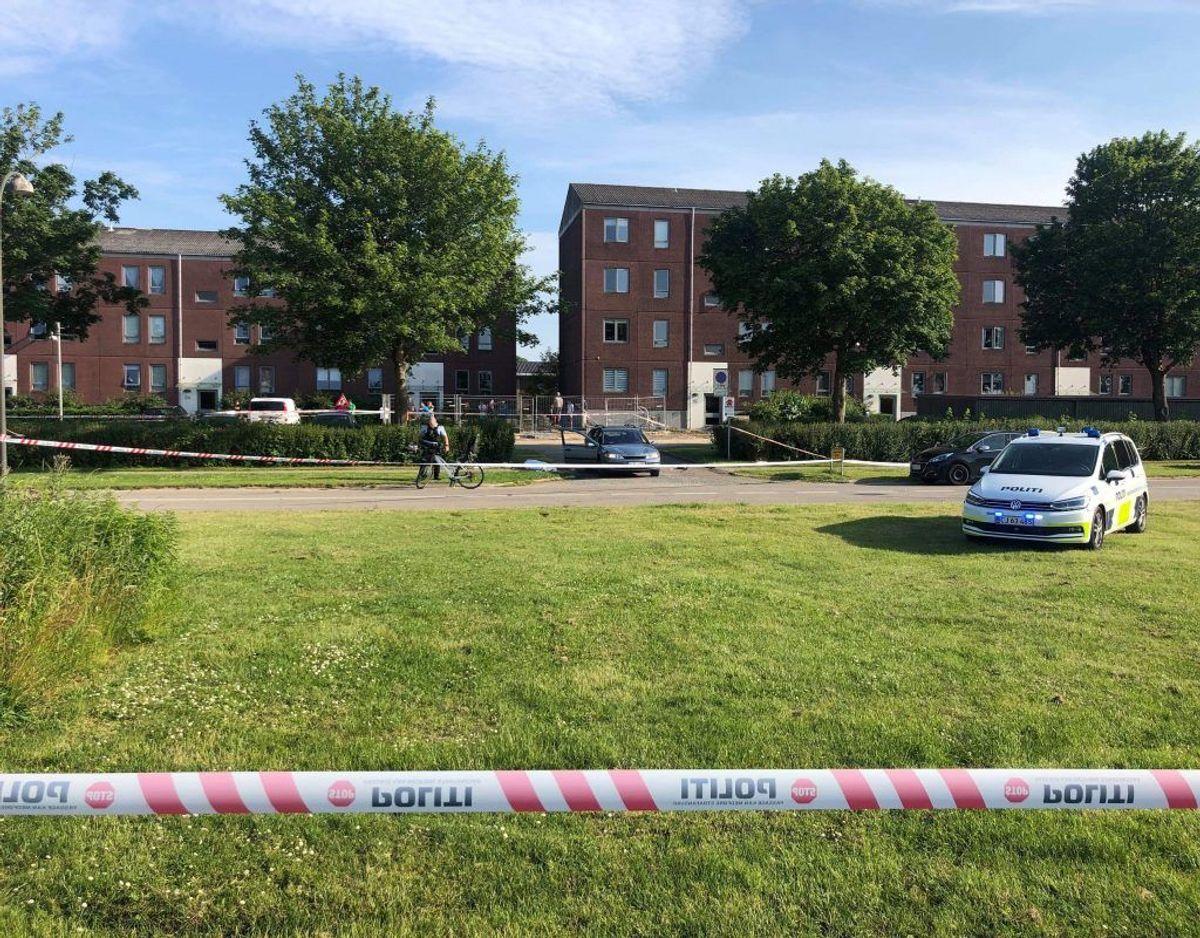 Politiet rykkede ud tirsdag den 25. juni om aftenen. Foto: Presse-fotos.dk.
