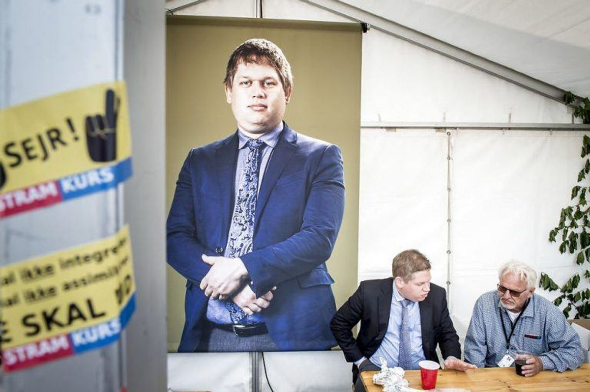 Rasmus Paludan under Valgfolkemøde hos TV2 på Kvægtorvet i Odense, søndag den 19. maj 2019. (Foto: Mads Claus Rasmussen/Ritzau Scanpix)