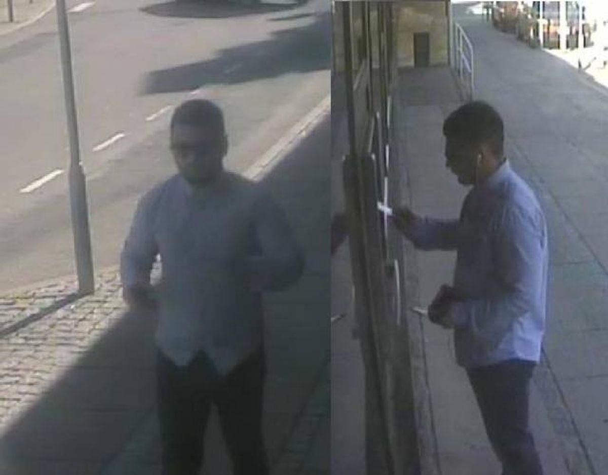 Gerningsmand B: 25-35 år, almindelig af bygning, ved købene i Føtex var han iført lys skjorte, blå jeans, sorte sko. Ved kontanthævningerne var han desuden iført mørk kasket og solbriller. Foto: Midt- og Vestjyllands Politi