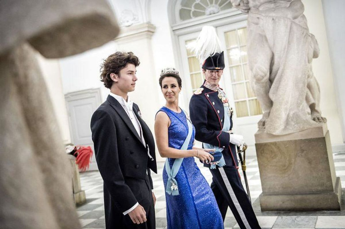 Gallataffel på Christiansborg Slot i anledning af H. K. H. Kronprinsens 50-års fødselsdag den 26. maj 2018. Prins Nikolai, Prinsesse Marie og Prins Joachim.