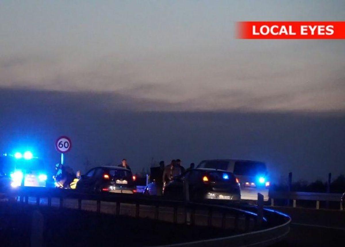 Biljagten endte på Østjyske Motorvej ved Vejle Syd. Foto: Local Eyes.