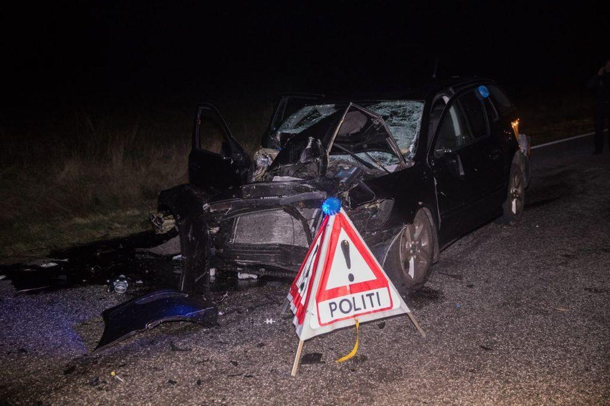 Ulykken skete på Ålbækvej mellem Ålbæk og Skagen. KLIK VIDERE OG SE FLERE BILLEDER.  Foto: Rasmus Skaftved.