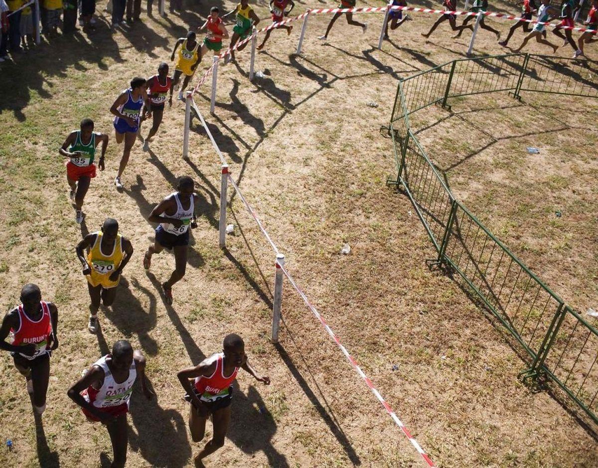 VM i Cross Country er verdensmesterskabet i forskellige løb i forskelligt terræn. Her er et billede fra VM i 2007, Mombasa. Foto: Scanpix