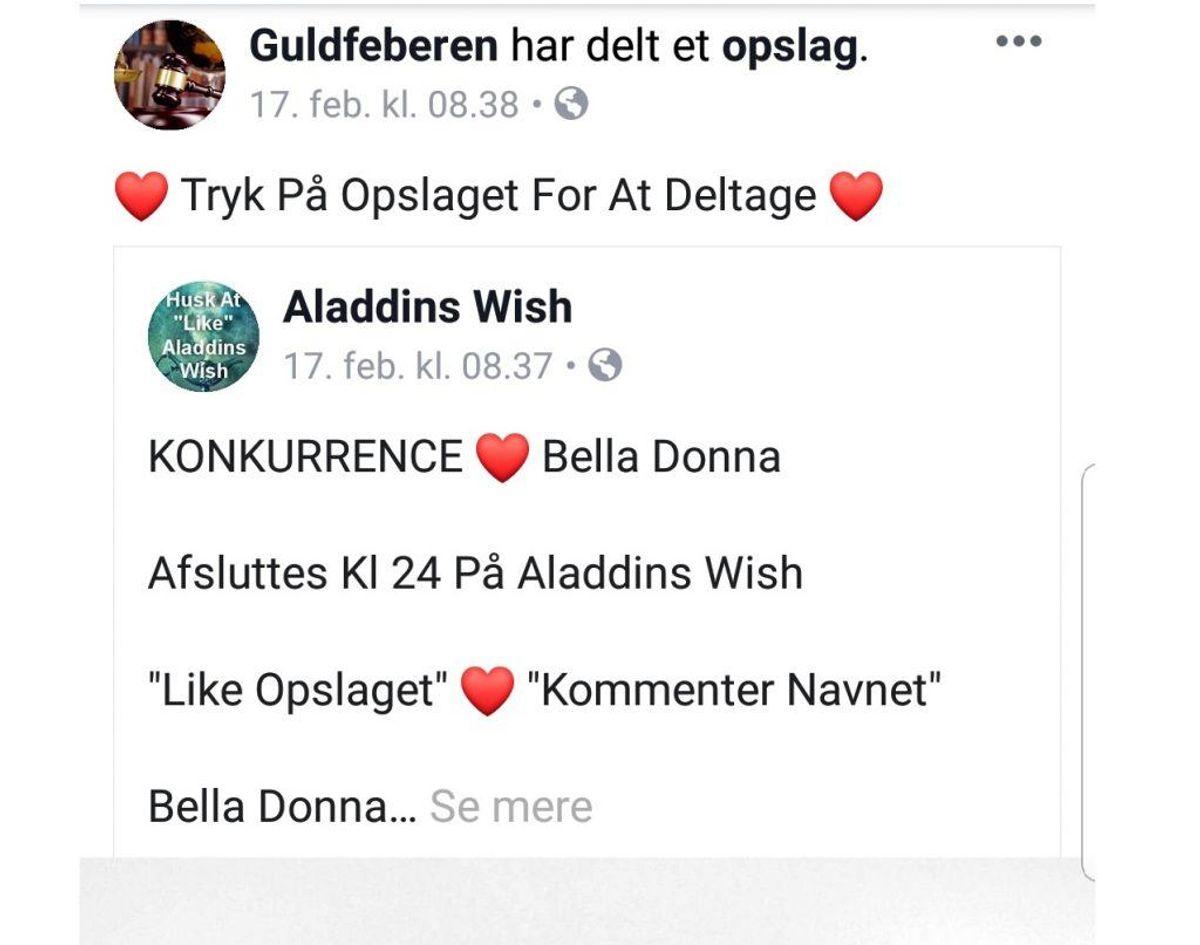 Her er et eksempel på de mange krydsende opslag, hvor Guldfeberen deler Aladdins Wish-opslag. Det gælder også omvendt. Foto: Screenshot